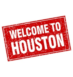 Houston red square grunge welcome to stamp vector