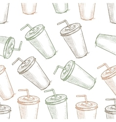 Seamless pattern scetch of three types cola cup vector