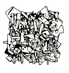 Abstract fragmented sculpture in black and white vector
