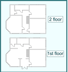 Abstract plan of the first and second floors vector image vector image
