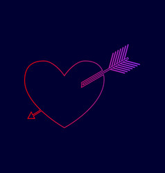 Arrow heart sign line icon with gradient vector