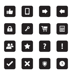 Black flat computer and miscellaneous icon set vector