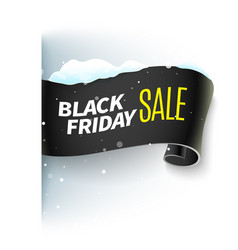 black friday sale ribbon and snow vector image