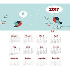 Calendar 2017 year with bird week starts sunday vector