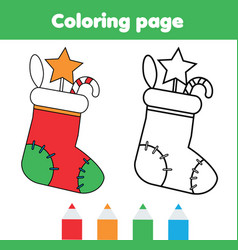Coloring page with christmas sock with gifts vector