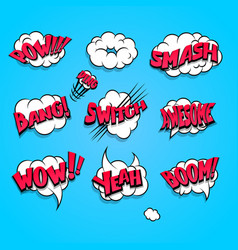 comic book cartoon explosion set boom bang vector image vector image