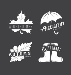 et of autumn emblems with a leaf umbrella vector image