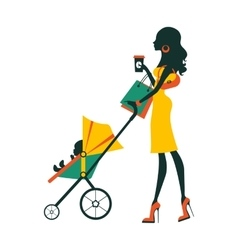 Fashion mom with baby in pram under umbrella vector image vector image