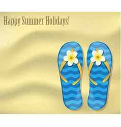 Flip-flops on the sand vector image