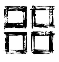 Four frames of textured brush strokes black paint vector