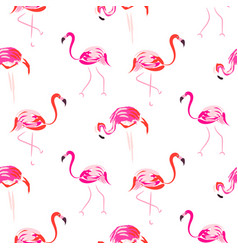hand drawn pink flamingo bird seamless pattern vector image vector image