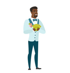 Happy african-american groom holding money vector