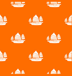 Junk boat pattern seamless vector