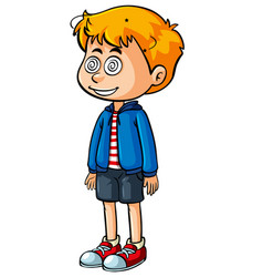 little boy with dizzy eyes vector image