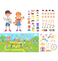 Little children and summer playground constructors vector