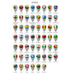 map marker set with flags of africa vector image