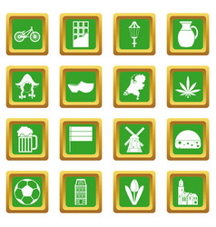 Netherlands icons set green vector