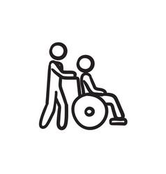 Nursing care sketch icon vector