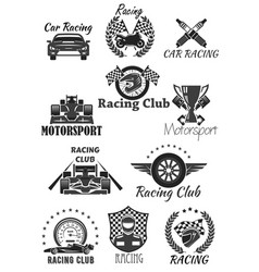 Racing club and motorsport isolated symbol set vector