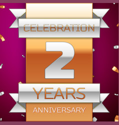 Realistic two years anniversary celebration design vector