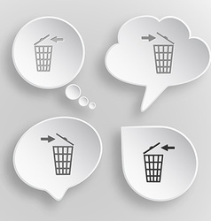 Recycling bin white flat buttons on gray vector