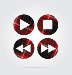 red black tartan icon four music control buttons vector image