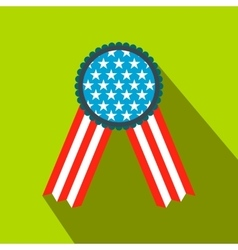 Ribbon rosette in the USA flag colors flat icon vector image vector image