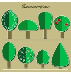 set of summer trees vector image vector image