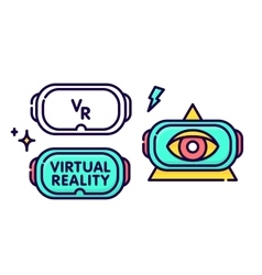 Virtual reality glasses headset gadget logo vector