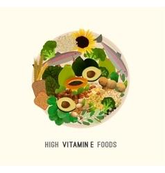 Vitamin e in food vector