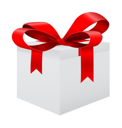 white gift box with red ribbon vector image
