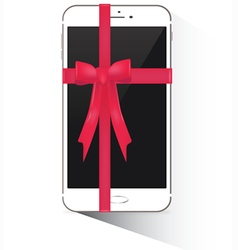Wrapped smartphone with red ribbon vector