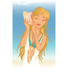 young woman with seashell vector image