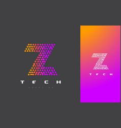 z letter logo technology connected dots letter vector image vector image