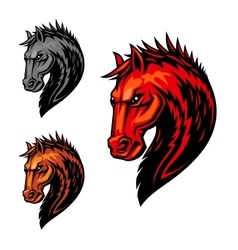 Fire flaming horse symbol for equestrian sport vector image