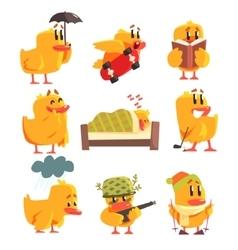 Duckling Different Activities Set Of Cute vector image