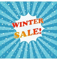 Winter sale promotional comic poster template vector image
