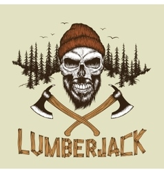 Skull-lumberjack with beardhat and two axes vector