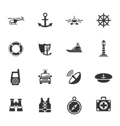 coastguard icon set vector image