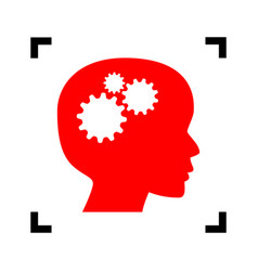 Thinking head sign  red icon inside black vector