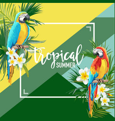 Tropical flowers and parrot summer graphic vector