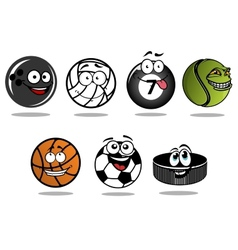 Cartoon hockey puck and sporting balls mascots vector