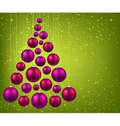 Christmas tree with magenta christmas balls vector