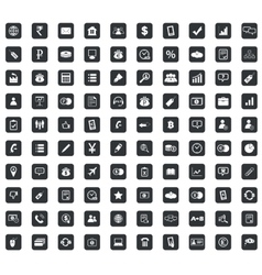 100 business icons set square black vector