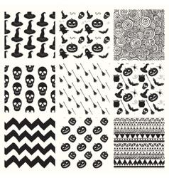Black sketched doodle halloween patterns vector