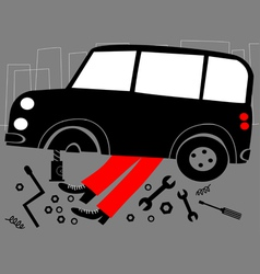 Mechanic and broken car vector