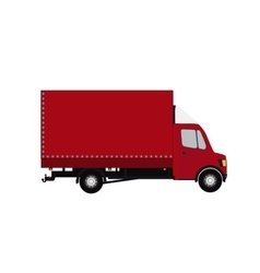 Red small truck silhouette vector