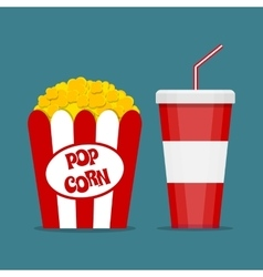 Popcorn box and soda glass vector