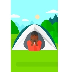 Man lying in tent vector