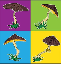 Cartoon seasonal mushroom with brown cap vector